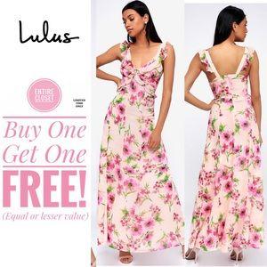 NWT Lulus Blush Pink Floral Ruffle Maxi Dress